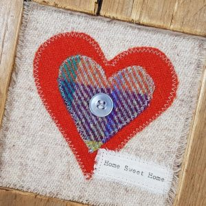 RUSTIC WOODEN FRAME WITH HARRIS TWEED APPLIQUE, DETAIL