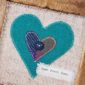 RUSTIC WOODEN FRAME WITH HARRIS TWEED APPLIQUE, Detail,