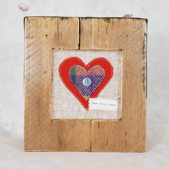 RUSTIC WOODEN FRAME WITH HARRIS TWEED APPLIQUE,