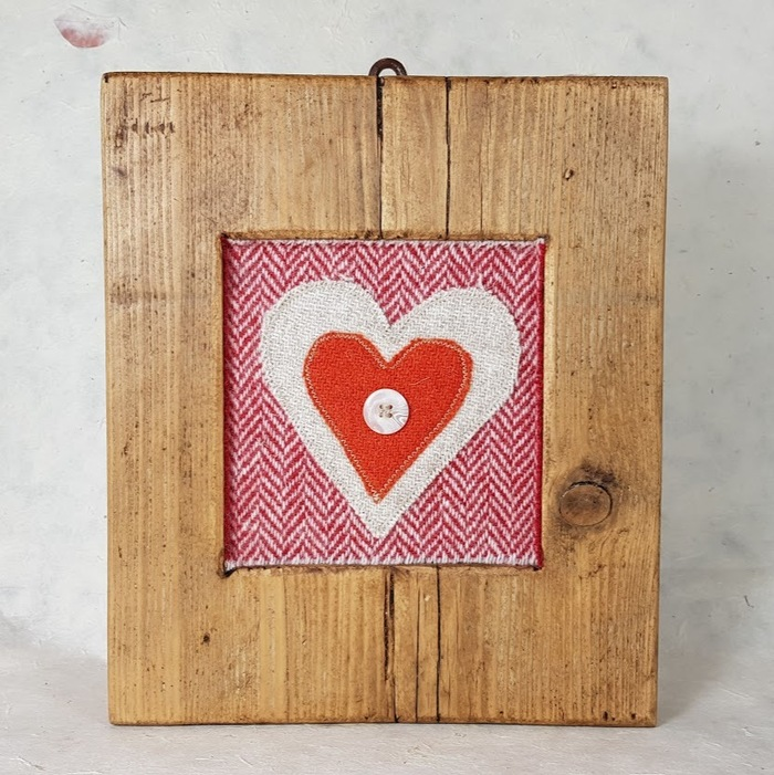 RUSTIC WOODEN FRAME WITH HARRIS TWEED APPLIQUE ,