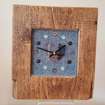Rustic Wooden Clock With Harris Tweed Face