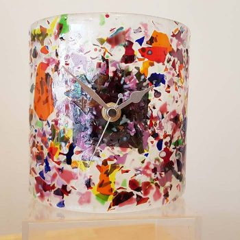 Fused Glass Mantle Clock Mixed