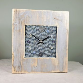 RUSTIC WOODEN CLOCK WITH HARRIS TWEED BLUE HERRINGBONE FACE