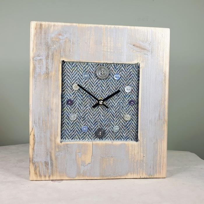 RUSTIC WOODEN CLOCK WITH HARRIS TWEED BLUE HERRINGBONE FACE