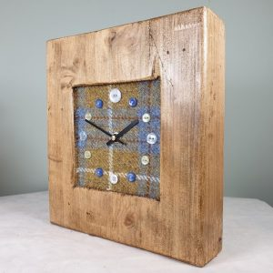 RUSTIC WOODEN CLOCK WITH HARRIS TWEED FACE DETAIL GOLDCHECK