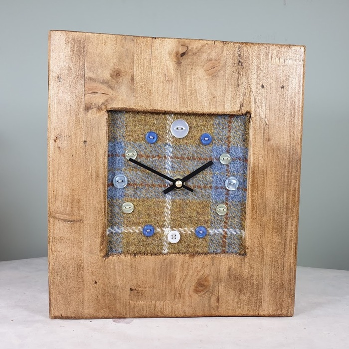RUSTIC WOODEN CLOCK WITH HARRIS TWEED FACE GOLDCHECK