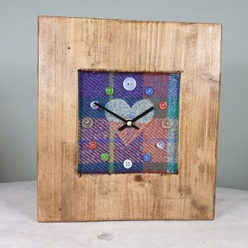 RUSTIC WOODEN CLOCK WITH HARRIS TWEED CHECK FACE