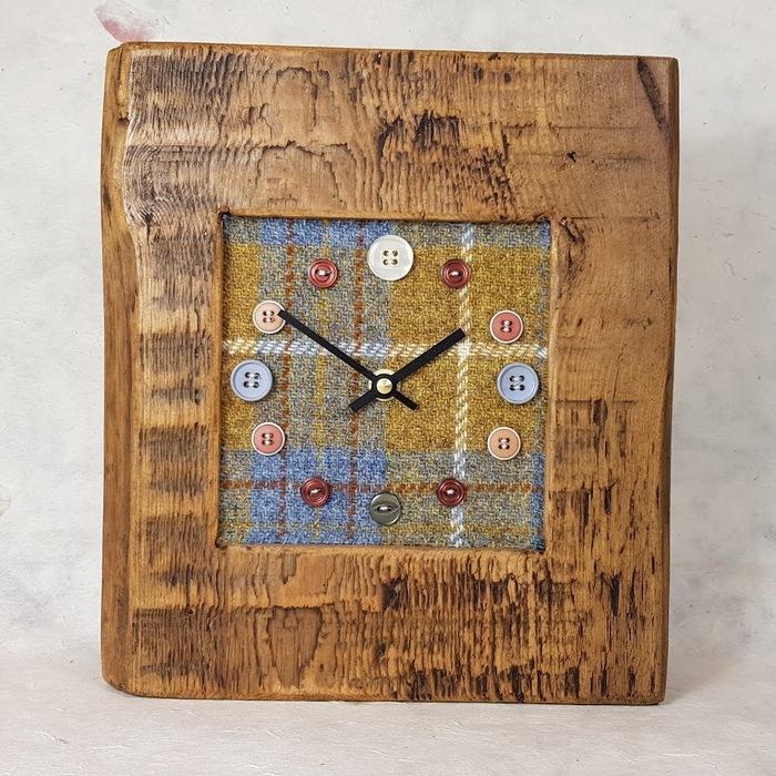 RUSTIC WOODEN CLOCK WITH HARRIS TWEED FACE (Mantle Clock )