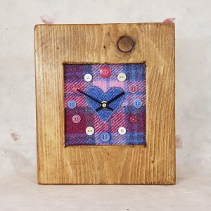RUSTIC WOODEN CLOCK WITH HARRIS TWEED FACE (Mantle Clock)