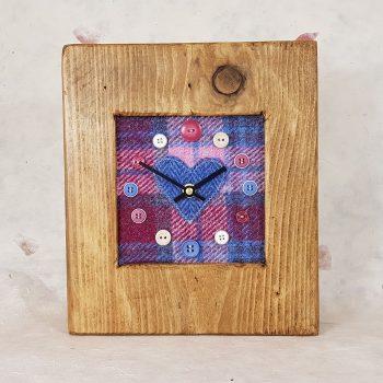RUSTIC WOODEN CLOCK WITH HARRIS TWEED FACE (Mantle Clock)