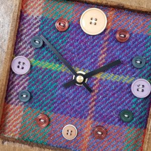 RUSTIC WOODEN CLOCK WITH HARRIS TWEED FACE (Mantle Clock)2 HTTEALMIX
