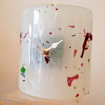 Fused Glass Mantle Clock White