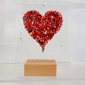 Fused Glass Heart Panel