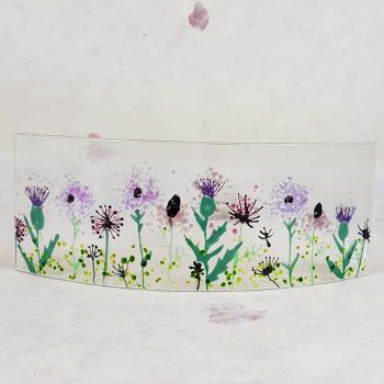 Large Scottish Wildflowers Fused Glass Panel
