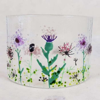 Small Scottish Wildflowers Fused Glass Panel