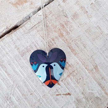 Round Heart Bird Design Pendant