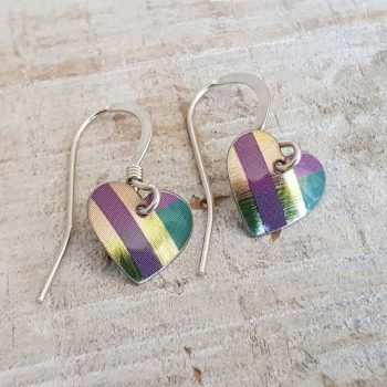 Green/Teal/Gold Tartan Heart Earrings
