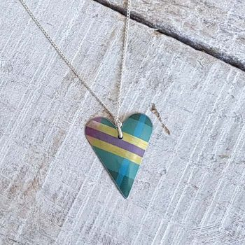 Teal/green/gold Tartan Heart Pendant