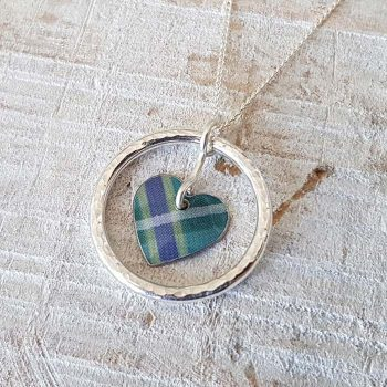 Teal Tartan heart Pendant with Silver Ring