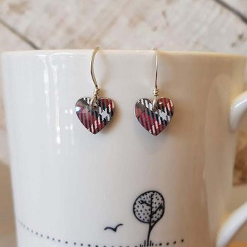 Red Tartan Heart Earrings