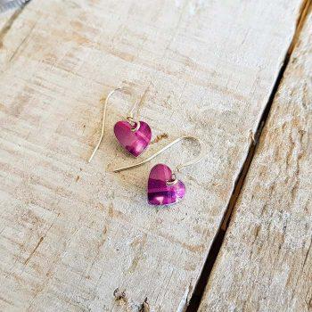 Pink Mix Tartan Heart Earrings