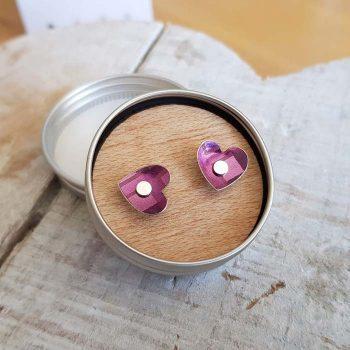 Small Tartan Heart ear studs
