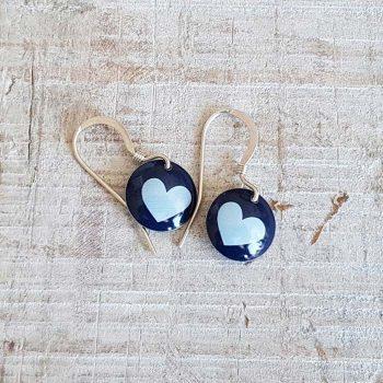 Navy Disc Earrings