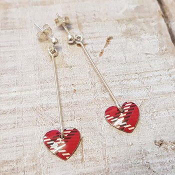 Red Tartan Heart Drop Earrings