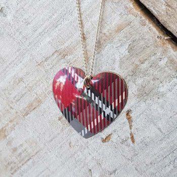 Red Tartan Heart Pendant