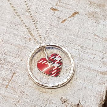 Red Tartan heart Pendant with Silver Ring