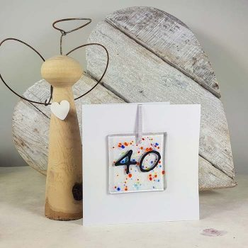 40th Celebration Fused Glass Decoration In A Card