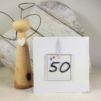 50th Celebration Fused Glass Decoration In A Card