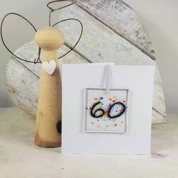 60th Celebration Fused Glass Decoration In A Card