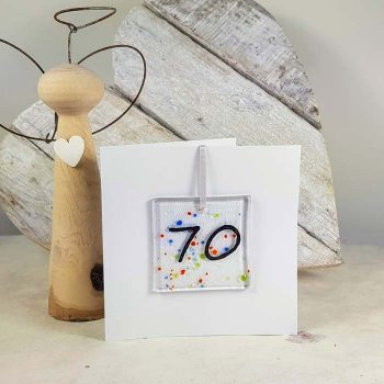 70th Celebration Fused Glass Decoration In A Card