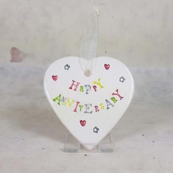 Happy Anniversary Ceramic Heart