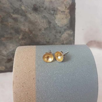 Silver Dome Studs With Gold Leaf