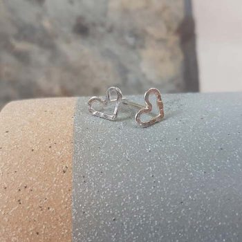 Tiny Silver Open Heart Studs