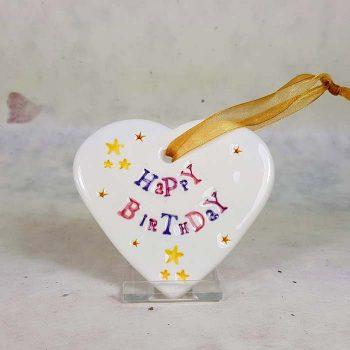 Happy Birthday Ceramic Heart