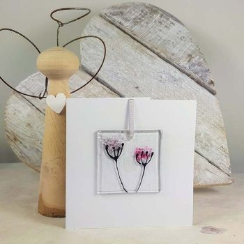 Flower Fused Glass Decoration In A Card