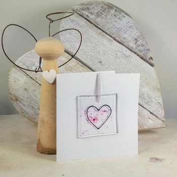 Heart Fused Glass Decoration In A Card