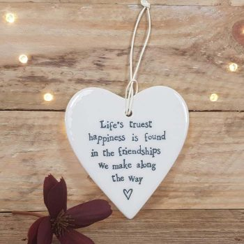 Porcelain Hanging Heart, Life's Truest Happiness