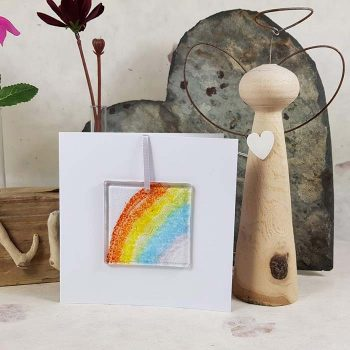 Rainbow Fused Glass Decoration Card