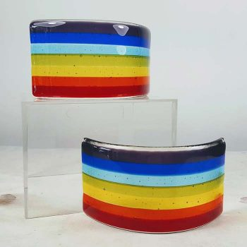 Fused Glass Rainbow Curved Panel