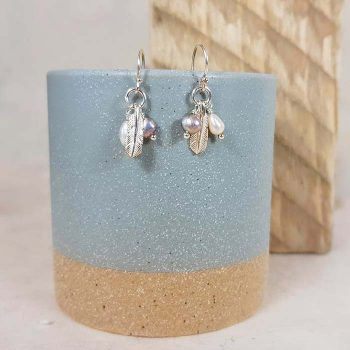 Silver Feather and Pearl Cluster Earrings