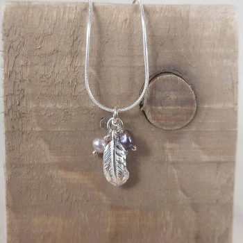 Silver Feather and Pearl Cluster Pendant