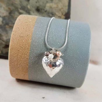 Silver Heart with Pearl Cluster Pendant