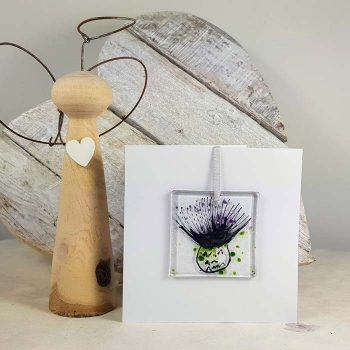 Thistle Fused Glass Decoration In A Card