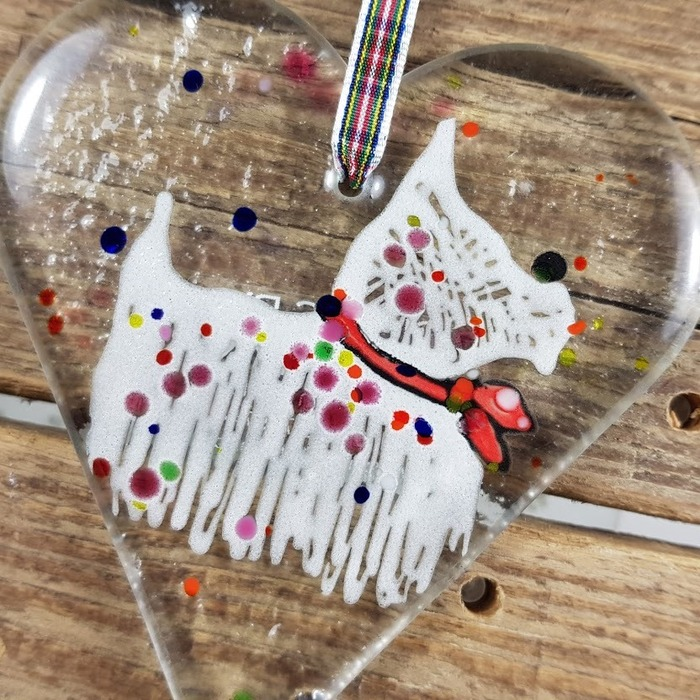 Fused glass Westie Heart pic 2