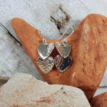 Double Heart Silver Earrings