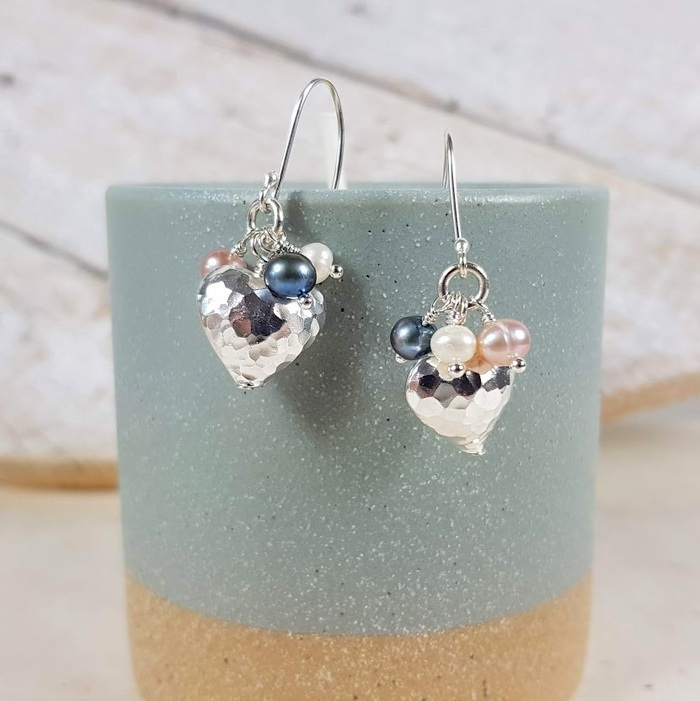 Silver heart and pearl earrings